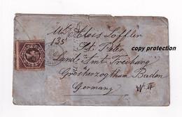 New South Wales, Six Pence, Brief Von 1865, über London Nach Sankt Peter Amt Freiburg Baden, Briefumschlag Ohne Inhalt - Lettres & Documents