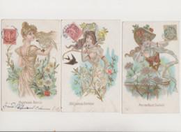 4 Cartes Fantaisie Dessinées  /  Jeunes Femmes , Fleurs , Oiseaux - Women