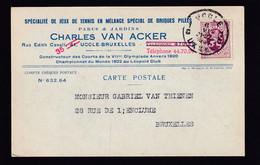 DDZ 778 - Archive Vanthienen (Encadreur à BXL) - Carte TP Héraldique Terrains De Tennis Van Acker à UCCLE 1931 - Tennis