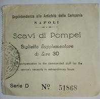 TICKET . SCAVI DI POMPEI - Tickets D'entrée