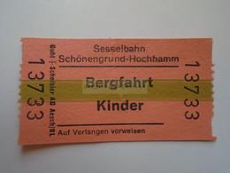 DT007   Switzerland -  Sesselbahn Schönengrund-Hochhamm - Bergstation  - Bergfahrt - KINDER  Ticket  Ca 1960-80 - Andere