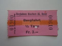DT006  Bergbahnen Rinerhorn AG Davos   1 Fahrt  - 1/2 Taxe  Fr. 3.-  Ca 1960-80 - Toegangskaarten