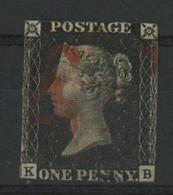 N° 1 One Penny Cote 325 € Obl. Croix De Malte Rouge Avec Lettres K Et B (voir Description) - Usados