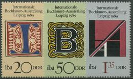 DDR 1989 Buchkunstausstellung IBA Leipzig 3245/47 Postfrisch - Ongebruikt