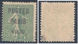 Semeuse Lignée 15c Vert Préoblitéré Sans Gomme Surcharge POSTES PARIS 1920  Signé - 1893-1947