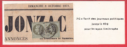 N°25 PAIRE CAD TYPE 17 JONZAC FRAGMENT DE JOURNAL CHARENTE INFERIEURE 8 OCTOBRE 1871 - 1849-1876: Periodo Clásico