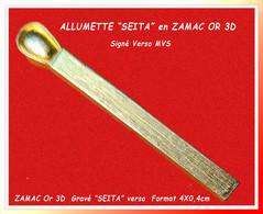 "SUPER PIN'S MARQUE ""SEITA"" Tabac : SUPERBE CREATION ""ALLUMETTE 3D OR, Signé NVS, Format  4X0,5cm - Marques"
