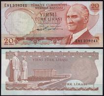 Türkei - Turkey 20 Lira Banknote 1970 (1974) Pick 187a UNC Black Signature(15779 - Turkije