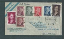 Argentina , Via Aerea,,   BAHIA BLANCA  9 SEP 53 C.d.s. > Stellenbosch S.Africa, Evita Adhesives = 3.90 Pesos - Covers & Documents