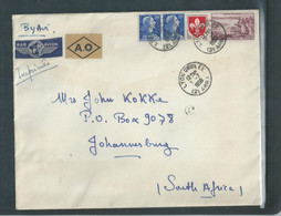 France, 130 Fr , Air Mail, LYON GROLEE  3 - 59 C.d.s. South Africa, A.O. In Diamond, Label - Covers & Documents