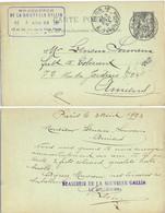 BRASSERIE DE LA NOUVELLE GALLIA 16 Et 18 Rue De La Voie Verte  TàD PARIS 18 R. D'AMSTERDAM 3 AOUT 93 – ENTIER CP SAGE 10 - Standard Postcards & Stamped On Demand (before 1995)