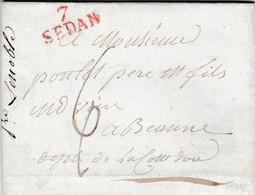 LAC De Sedan (08) Pour Beaune (21) - 3 Mai 1819 - Marque Linéaire 7 SEDAN Rouge + Taxe Manuelle 6 - 1801-1848: Voorlopers XIX