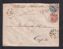 2 Sgr. Ganzsache Mit 6 Pf. Zufrankiert - Wertbrief Ab COELN Nach Crefeld - Prussia