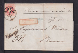 """1875 - R-Zettel """"Eingeschrieben"""" Als Transit-R-Zettel Auf Brief Ab Asch Nach Plauen - Briefe U. Dokumente"""