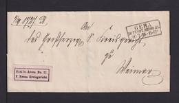 """1875 - Rosa Aufkleber """"Frei Lt. Avers Nr0. 11/F. Reuss. Kreisgericht."""" - Brief Nach Weimar - Covers & Documents"""