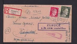 """1944 - Einschreibbrief Ab Bremen Nach Bialystock - Rahmenstempel """"Zurück Z.Zt. Nicht Zustellbar"""" - Lettres & Documents"""