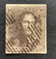 Epaulet OBP 1 - 10c Gestempeld P55 HANNUT - 1849 Epaulettes