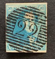 Epaulet OBP 2 - 20c Gestempeld P22 BRAINE-LE-COMTE - 1849 Epaulettes