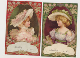 2 Cartes Fantaisie Gaufrées  /Jeune Femme De Profil Avec Chapeau - Women