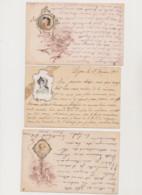 3 Cartes Dessinées /Portrait De Femme Dans Un Médaillon , Fleurs , Oiseaux , Angelots - Women