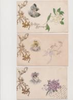 3 Cartes Dessinées /Portrait De Femme Dans Un Médaillon , Fleurs  , Angelots - Women