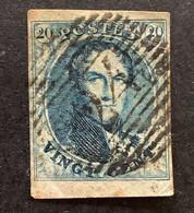 Medaillon OBP 7 - 20c Gestempeld P24 BRUXELLES - 1851-1857 Medaillen (6/8)