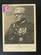 Carte Maximum Card Prince Louis II Jubilé Du Souverain Monaco 1947 - Maximum Cards