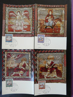 Carte Maximum Card (x4) Art Roman Medieval Légende De Saint-Martin Zillis Suisse Pro Patria 1966 (ex 5) - Cartoline Maximum
