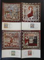 Carte Maximum Card (x4) Art Roman Medieval Légende De Saint-Martin Zillis Suisse Pro Patria 1967 (ex 5) - Cartes-Maximum (CM)