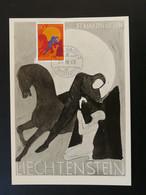 Carte Maximum Card Saint Martin Cheval Horse Liechtenstein 1968 - Cartes-Maximum (CM)