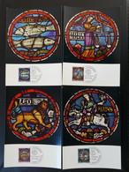 Série De 4 Cartes Maximum Cards (x4) Vitraux Stained Glass Art Medieval 13th Century Suisse Pro Patria 1968 - Cartes-Maximum (CM)