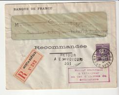 Lettre Recommandée Banque De France/Mont De Marsan,Retour à L'envoyeur Pour Cause De Mobilisation,signé Le Facteur, 1915 - Storia Postale