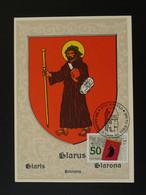 Carte Maximum Card Pélerin Pilgrim Moyen Age 14e Siècle Medieval Glarus Suisse 1988 - Cartes-Maximum (CM)