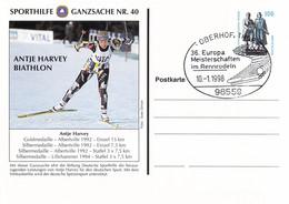 Germany Postal Stationary Sporthilfe GS Nr. 40 Antje Harvey, Biathlon - Used Oberhof 1998 36. Europa Meisterschaften - Ski
