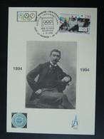 Carte Maximum Card Pierre De Coubertin Centenaire Du CIO Centenary Of IOC 92 Puteaux 1994 (cachet 2) - Other