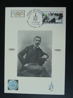Carte Maximum Card Pierre De Coubertin Centenaire Du CIO Centenary Of IOC 92 Puteaux 1994 (cachet 5) - Other