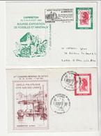 Lot 2 Lettres Avec Pseudo Porte-Timbre Publicitaire (Marianne Liberté Roulette Sur Support Imprimé Pub Capbreton) - Pubblicitari