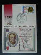Carte Maximum Card Roi King Henri IV Edit De Nantes Protestantisme Pau 64 Pyrénées Atlantiques 1998 - 1990-99