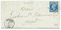 N° 14 BLEU NAPOLEON SUR LETTRE / GENCAIS POUR NIORT / 21 MAI 1861 / PC 1379 IND 6 - 1849-1876: Periodo Classico