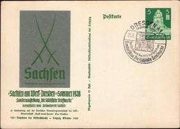 Germany - Postal Stationery Card, Ganzsache Mi. P269, Sachsen Am Werk, Sächsische Briefmarke, DRESDEN 1938. - Entiers Postaux