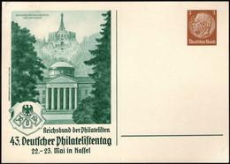 Germany - 43.Deutscher Philatelistentag In KASSEL 22-23 Mai 1937. Privatpostkarte, PP-122-C121-02. - Stamped Stationery