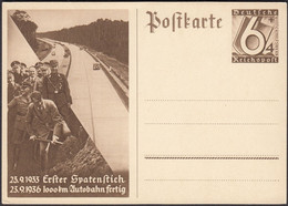 Germany - Postal Stationery Card, Ganzsache MiNr. P 263. 1936 Erster Spatenstich - 1000 Km Autobahn Fertig. - Entiers Postaux