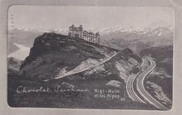 Publicité Chocolat Suchard Sur Carte Postale De L'entrée De Rigi-Kulm Et Les Alpes - Chocolat