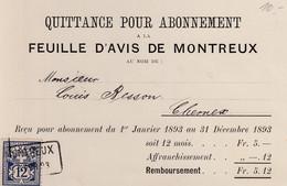 Quittance Pour Abonnement à La Feuille D'Avis De Montreux,1893 - Sin Clasificación