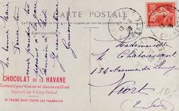 Publicité Chocolat De La Havane, Aprouvé Par Le Corps Médical, Sur Carte Postale Du Château Du Châtelard - Chocolat