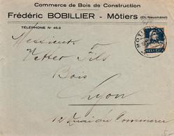 Lettre De La Firme Frédéric Bobillier, Môtiers, Commerce De Bois De Construction - 1925 - Cartas