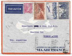 AIR FRANCE - 1937 - 20 F PONT DU GARD + 3 F PA 12 Outremer Sur Lettre PAR AVION Pour ARGENTINE - Devant De Lettre - Storia Postale