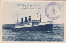 """13. PAQUEBOT. CPA.SOUVENIR DE VOYAGE. PAQUEBOT """" PATRIA"""" .COMPAGNIE FABRE. TEXTE DE MARSEILLE.ANNEE 1938 RETOUR DU LIBAN - Steamers"""