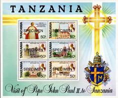 TANZANIA - SPECIMEN SAMPLE - SHEET - POPE JOHN PAUL II BLOCK MINT NOT HINGED SOUVENIR - Pausen