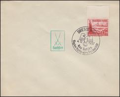 656 WHW 12 Pf Dampfer, EF Blanko-Brief SSt DRESDEN Tag Der Solidarität 4.12.37 - Ohne Zuordnung